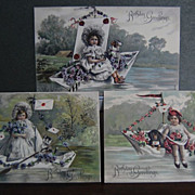 "Early 1900's German  Lithograph Postcards ""Birthday Greetings"""