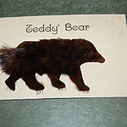 "Early 1900's Furry ""Teddy Bear"" One Cent Post Card"