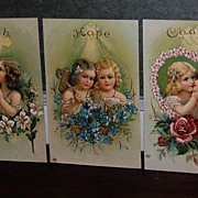 Early 1900's Colorful Illustrated Faith,Hope and Charity Post Cards