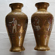 Vintage Egyptian Style Brass with Copper and Silver Inlay Vases
