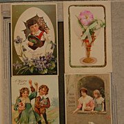 "Early 1900's ""Easter Greeting"" Colorful Lithograph Post Cards"