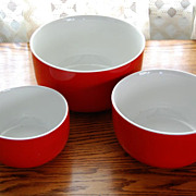 SOLD Vintage Hall's Superior Kitchenware Red Mixing Bowl Set
