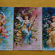 Early 1900's Figural German Made Happy New Year Post Cards