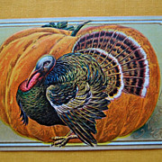 Early 1900's Colorful Thanksgiving Greetings Turkey Post Card