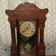 Early 1900's Oak Wm. Gilbert Clock Co. Gingerbread Clock