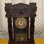 Early 1900's E. Ingraham Co. Oak Gingerbread Mantle Clock