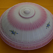 Early 1900' s Pink and White Satin Finish Ceiling Light Shade