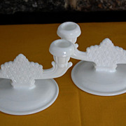 Vintage Fenton Daisy and Button Milkglass Double Candlesticks