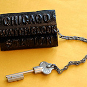 Vintage Cast Iron Chicago Watch Clock Station Box with Key