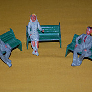 Vintage 1940's Manoil Lead Molded Toy Figures with Benches