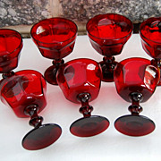 Vintage Red Ruby Panel Style Stemware Goblet Drinking Glass