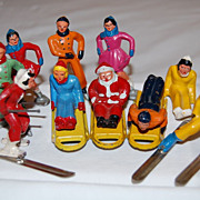Vintage 1940's Barclay Lead Winter Sports Toy Figures with Santa