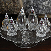 Imperial Glass Candlewick Cake Plate and Salt and Peppers