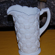 "Vintage Westmoreland Milkglass ""Old Quilt"" Handled Pitcher"