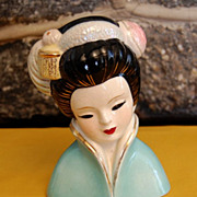 SOLD Vintage Glazed Porcelain Madaam Butterfly Head Vase