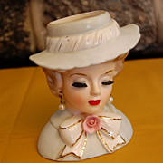 SOLD Vintage Inarco E-1063 Figural Lady 5 1/2&quot; Head Vase
