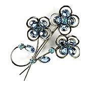 SALE Blue and Aqua Rhinestone Flower Motif Brooch