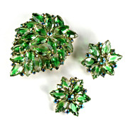 Green and Crystal Givre Rhinestone Flower Motif Brooch and Earrings