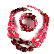 Hobe Pink and Glitter Red Bead Necklace and Bracelet