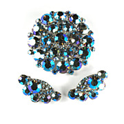 DeLizza and Elster Juliana Blue Purple AB Rhinestone Brooch and Earrings