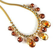 SALE DeLizza and Elster Juliana Topaz Colored Bead Mesh Necklace