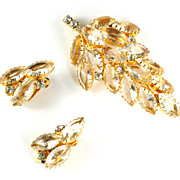 Crystal Rhinestone Leaf Motif Brooch and Earrings