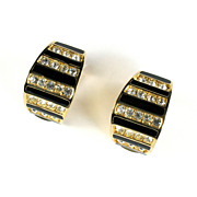Christian Dior Black Enamel Crystal Rhinestone Earrings
