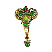 DeLizza and Elster Juliana Red Green Yellow Moroccan Matrix Brooch