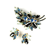 DeLizza and Elster Juliana Hematite Blue Rhinestone Brooch and Earrings