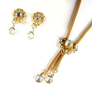 Crystal Rhinestone Dangles Mesh Necklace and Earrings