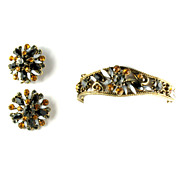 Florenza Black Topaz Gray Rhinestone Bracelet and Earrings