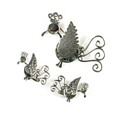 Sterling Silver Shell Mexican Quetzal Bird Brooch and Earrings