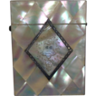 1878 English Mother-of-Pearl/Sterling Silver Calling Card Case