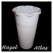 Hazel Atlas Milk White Ruffled Top Vase