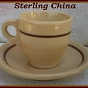 SOLD Sterling China Desert Tan Demitasse Cup & Saucer
