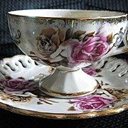 Royal Sealy Iridescent Rose Tea Cup and Reticulated Saucer