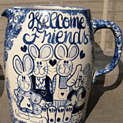 Welcome Friends Bunny Pottery Pitcher