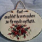 East Texas Pottery Mother's Day Wall Plaque