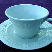 Homer Laughlin China White Grape Relief Cup & Saucer