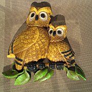 Homco Owl Plaque Set