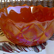 Iridescent Orange Diamond Quilt Glass Bowl