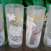 Vintage Set of 4 Planters Punch Tom Collins Hurricane Glasses