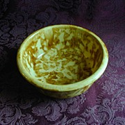 SALE Yellow Brown Spongeware Bowl