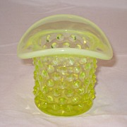 SALE Fenton Yellow Topaz Opalescent Hobnail Glass Top Hat