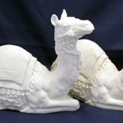 Avon White Christmas Nativity Collectibles - Porcelain Bisque - Pair of Camels figurines