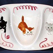 Stangl Kitten Capers Kiddieware three part dish - black & white kitten, orange tabby and grey