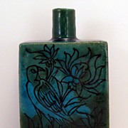 Persian bird fish blue green pottery vase