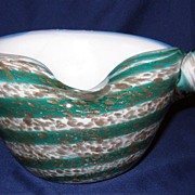 Murano green gold striped glass shell twist bowl