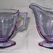 Alexandrite Neodymium glass creamer & sugar set