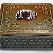 Wade Irish Porcelain trinket dresser box with shamrocks & country cottage hearth